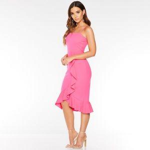 Dresses & Skirts - Pink Square Neck Frill Midi Dress